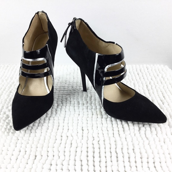 L.A.M.B. Shoes - LAMB Cut out Silver Black Suede & Patent Heels